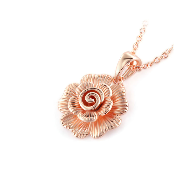 Embossment Pattern Blooming Rose Pendant