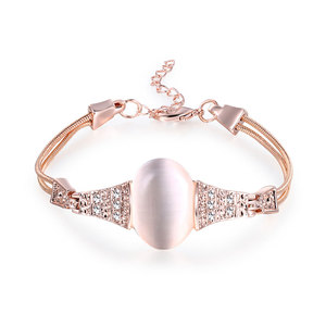 Oval Opal Rose Gold Chain Bracelet