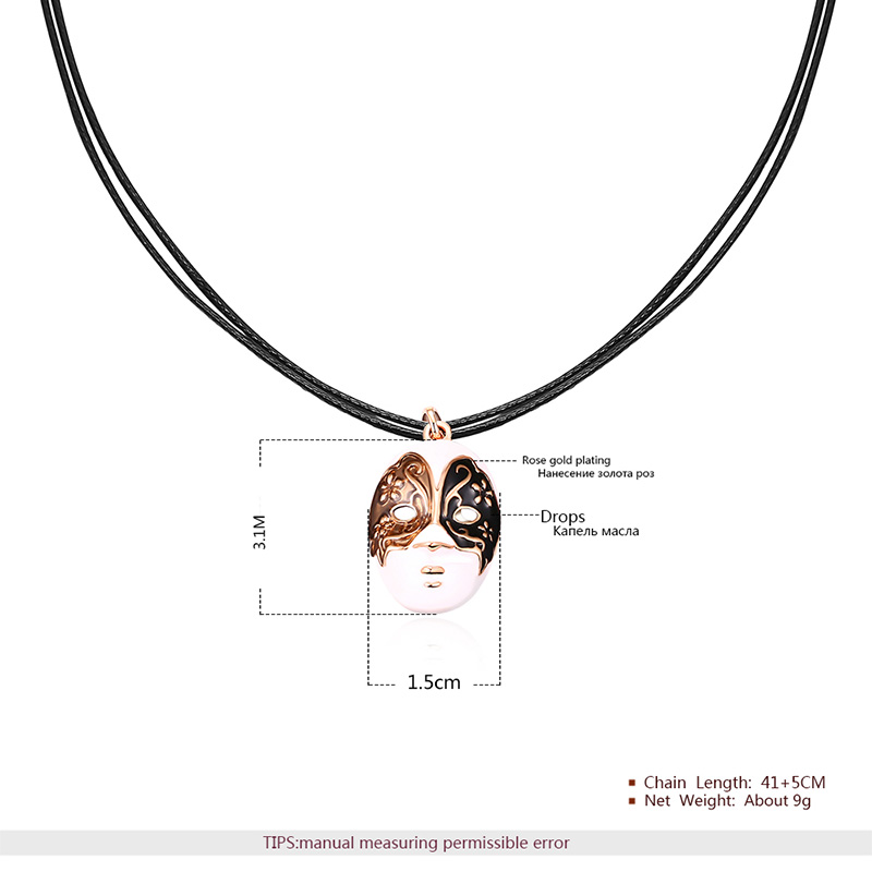 Angel Face Rose Gold Pendant Leather Chain Necklace
