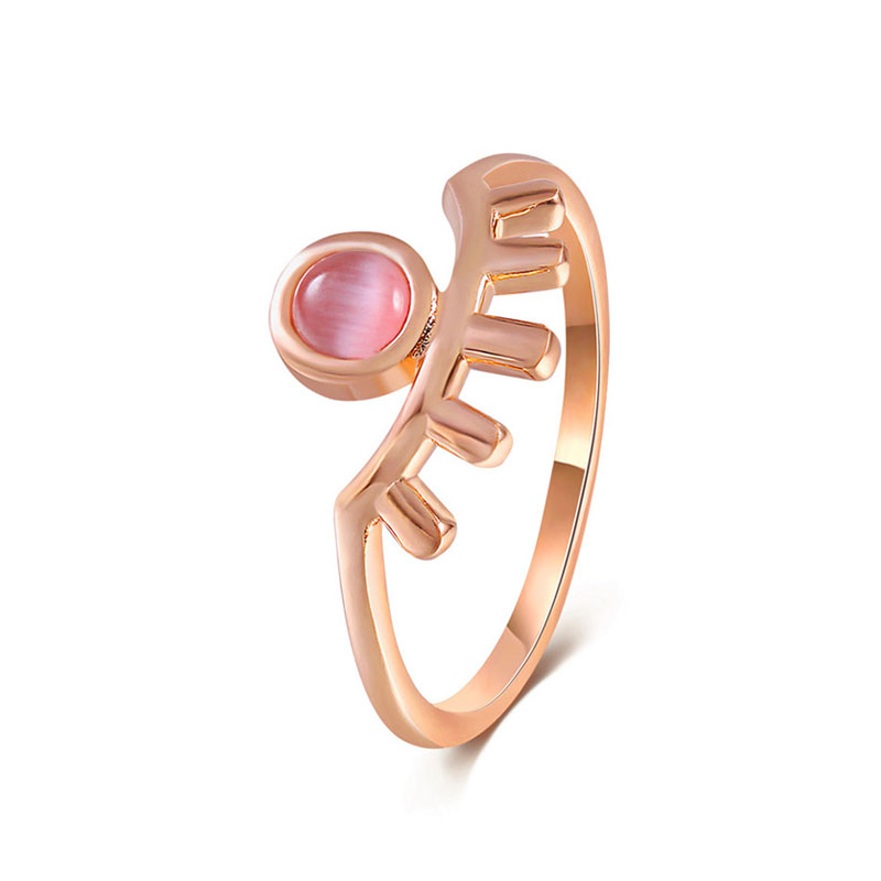Long Eyelash Eye Opal Rose Gold Ring