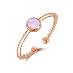 Solitaire Opal Rose Gold Openings Ring
