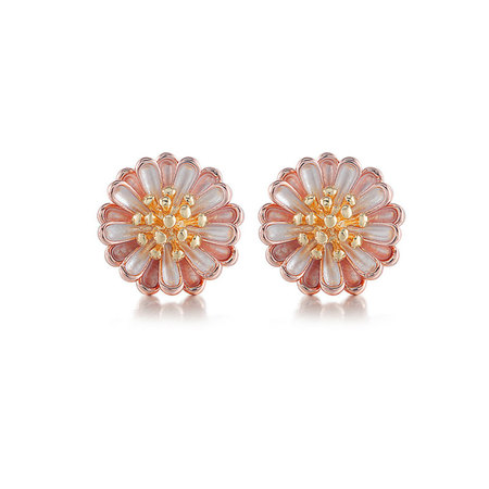 Daisy Two-Tone Stud Earrings (18K Gold + Rose)