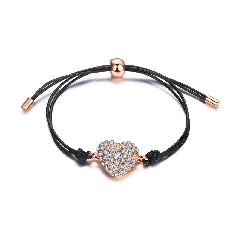 Diamond Heart Leather Bracelet - Rose