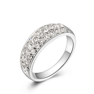 Three Rows Diamond White Gold Ring