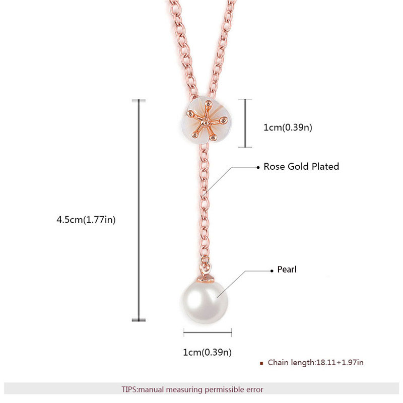 Petal & Pearl Pendant Rose Gold Necklace