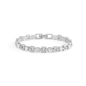 White Gold Link Bracelet With White Stones