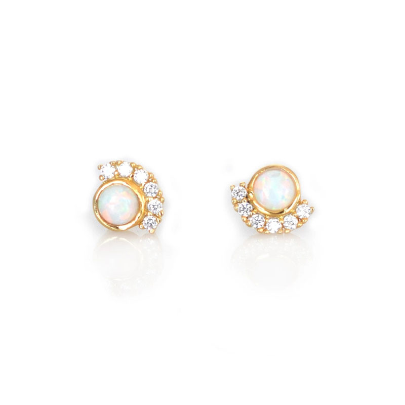 Semiarc Embrace Opal Stud Earrings