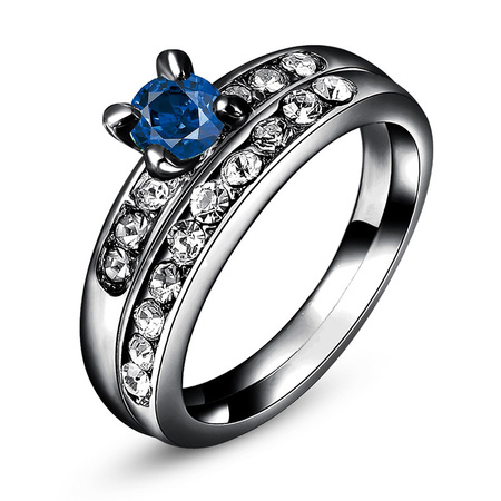 Gun Black Sapphire Wedding Ring Set
