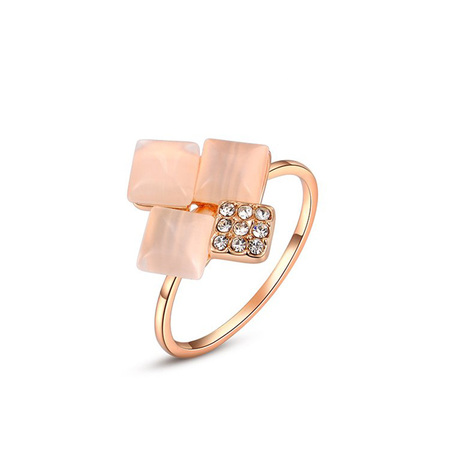 Four Square Opal Rose Gold Ring