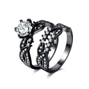 Twist Gun Black Diamond Ring Set