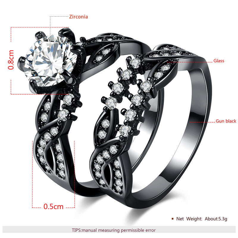 Twist Diamond Gun Black Ring Set