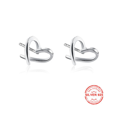 Loving Heart 925 Sterling Silver Stud Earrings
