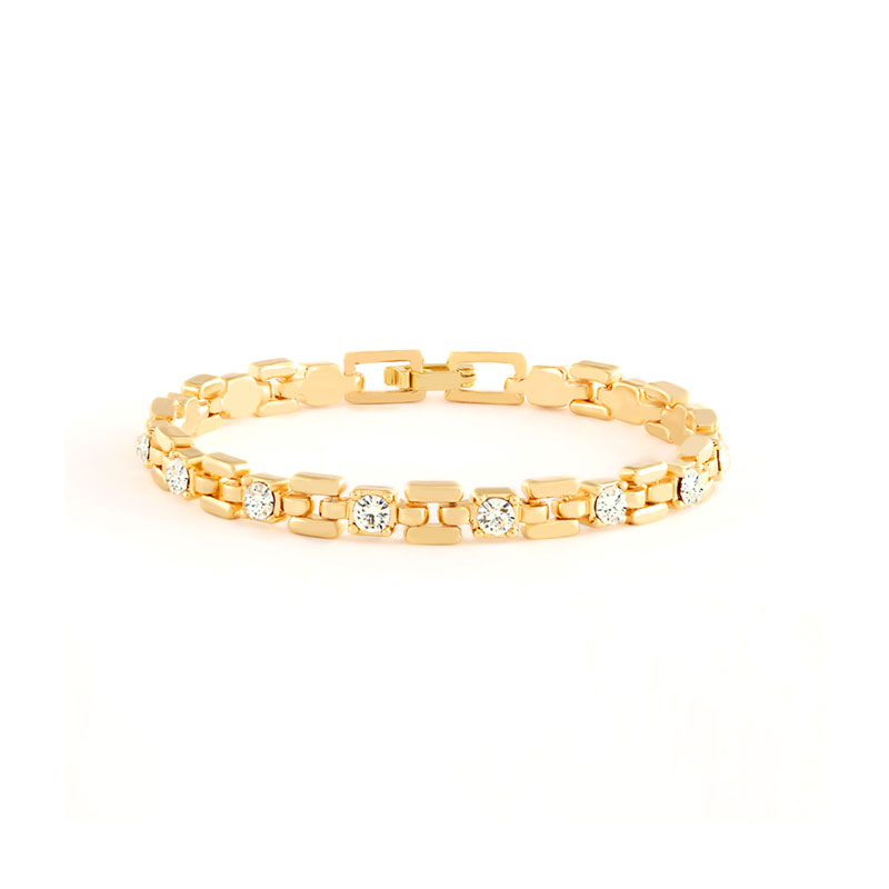 18K Gold Link Bracelet With White Stones