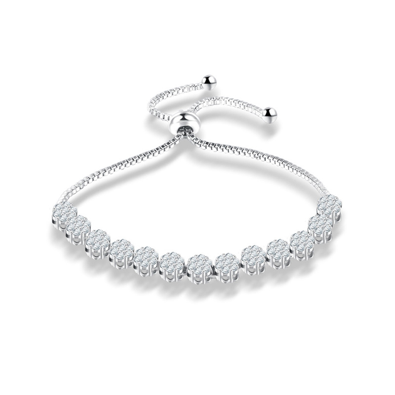 Fine Adjustable Zirconia White Gold Bracelet