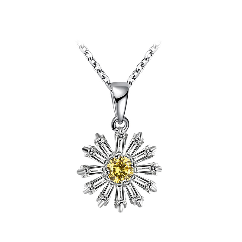 Small Daisy Flower Diamond Necklace