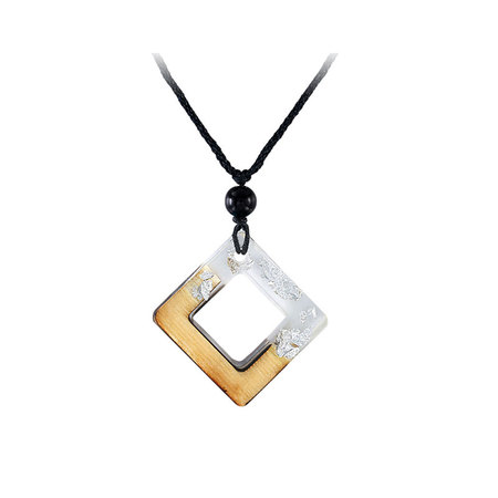 Square Frame Lucid Resin Silver Foil Necklace