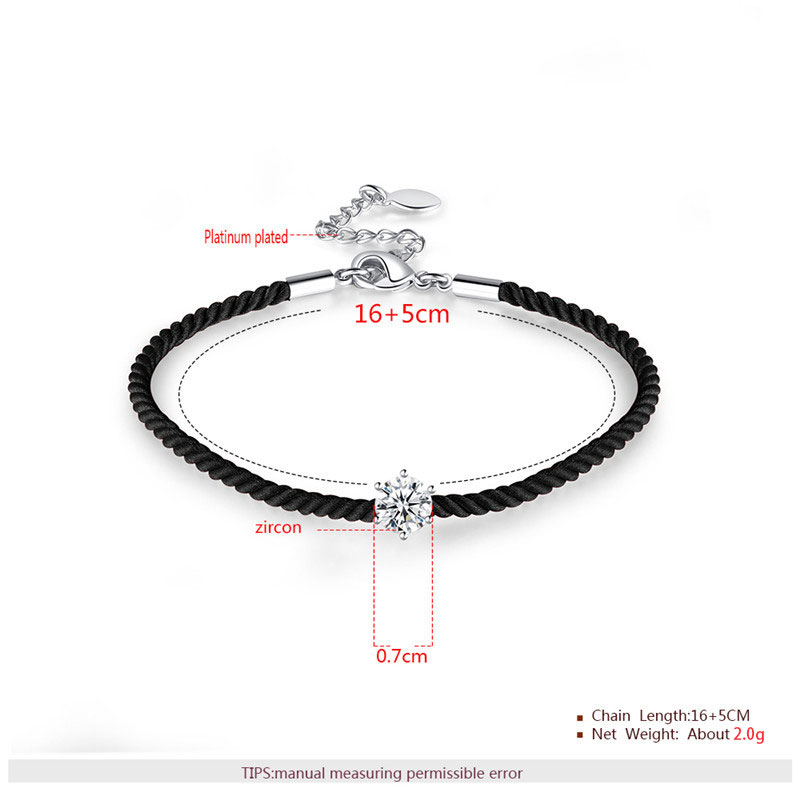 Six Paw Round Diamond Cord Couple Bracelet