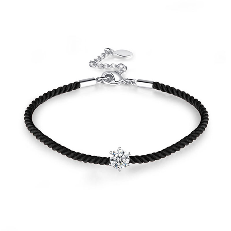 Six Paw Diamond Black Cord Bracelet