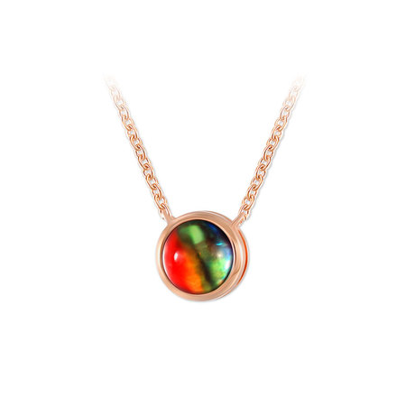 Natural Round Ammolite Rose Gold Necklace