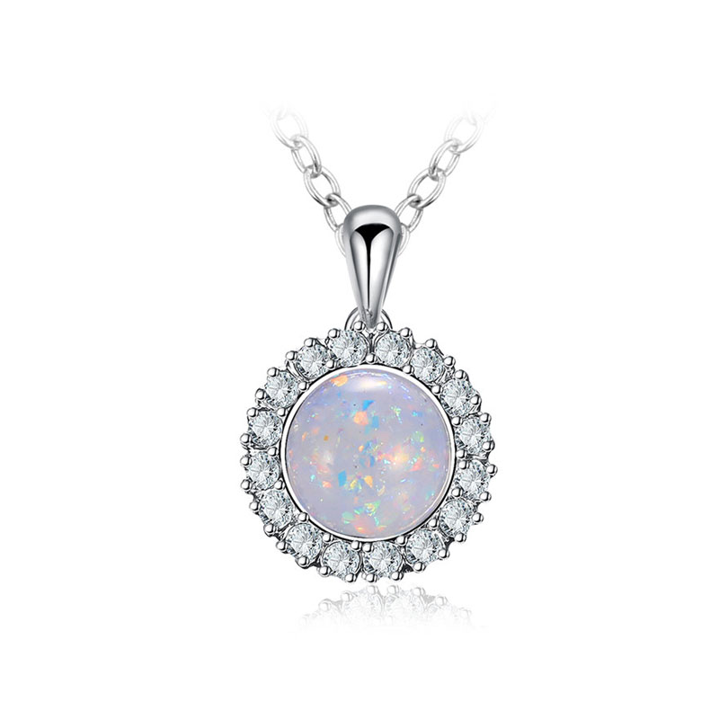 White Fossil Opal White Gold Necklace