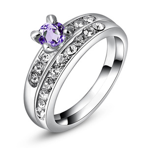 White Gold Amethyst Wedding Ring Set