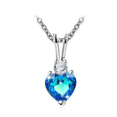 Heart Sapphire White Gold Necklace