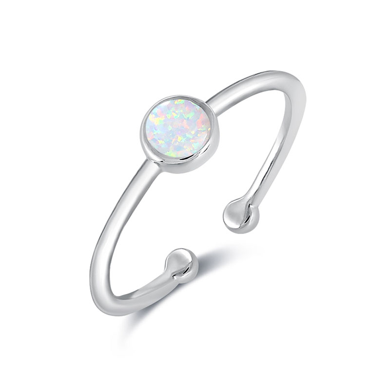 Solitaire Opal White Gold Openings Ring