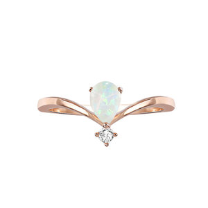V Groove Teardrop Diamond Ring