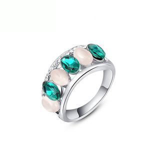 Emerald Opal White Gold Ring