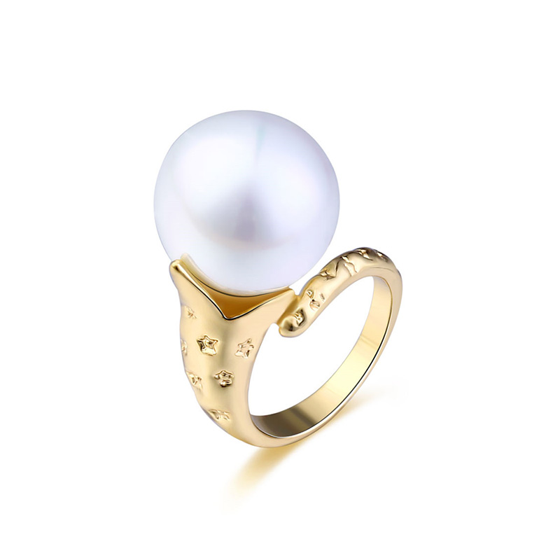 Pearl Pattern 18K Gold Ring