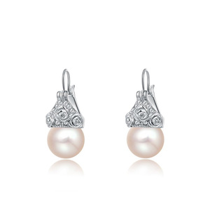 Flower Pearl White Gold Earrings