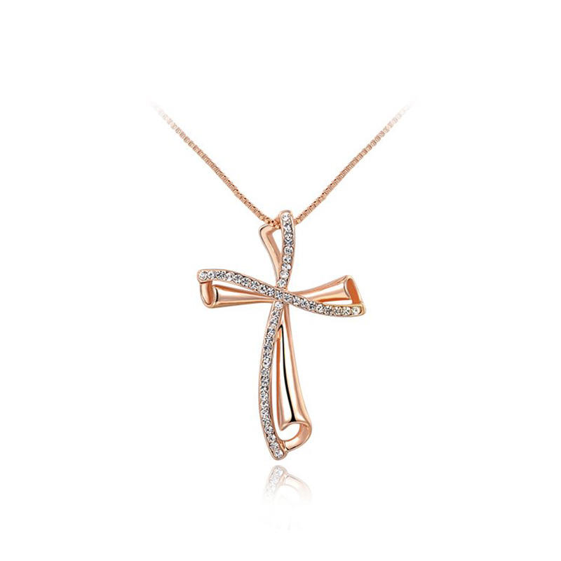 Oblique Cross Rose Gold Pendant