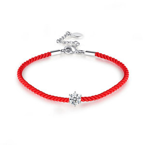 Six Paw Diamond Red Cord Bracelet