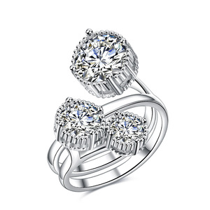 Three Flower Adjustable Diamond Ring