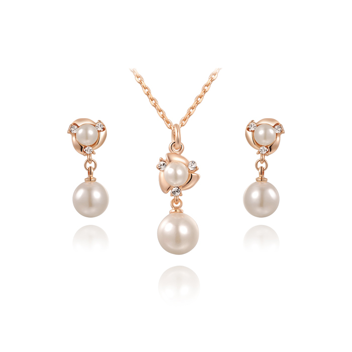 Double Pearl Three Diamond Set - Rose Gold