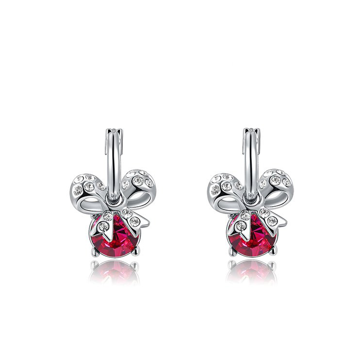 Bowknot Ruby Drop Earrings