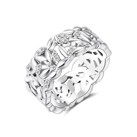 Cut Out Pattern White Gold Ring