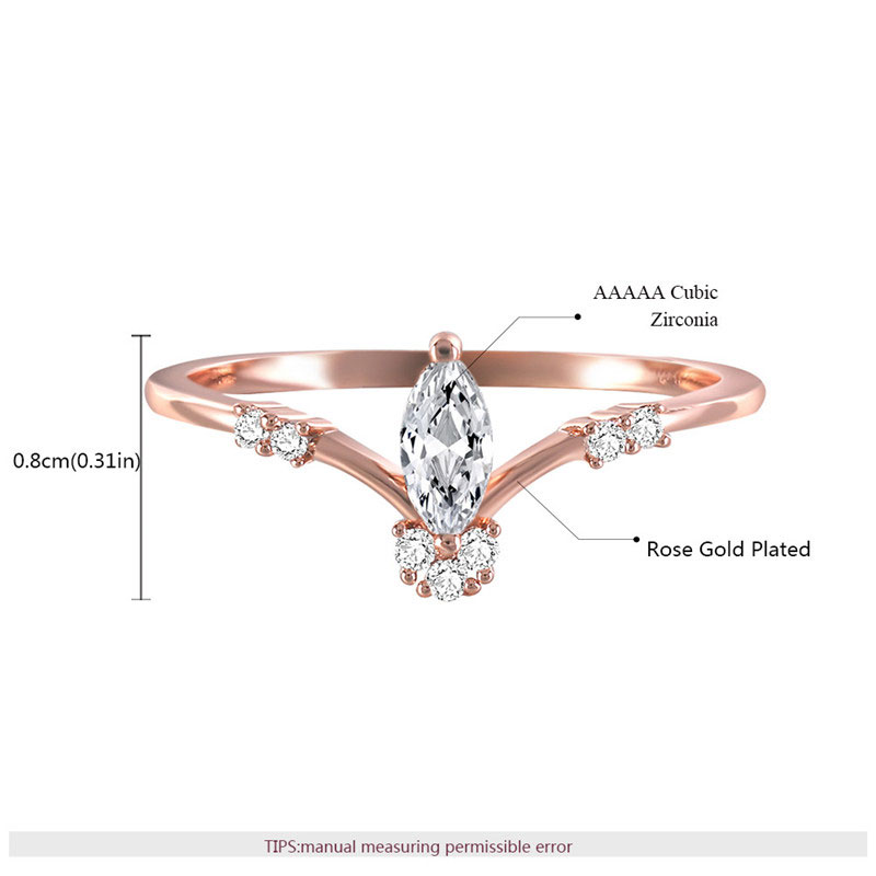 Marquise Diamond Queen Crown Rose Gold Ring