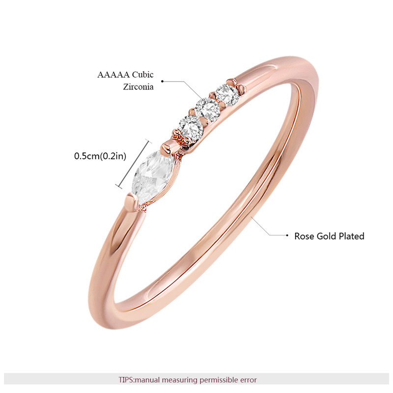 Concise Style Marquise & Unilateral Row Diamond Rose Gold Ring