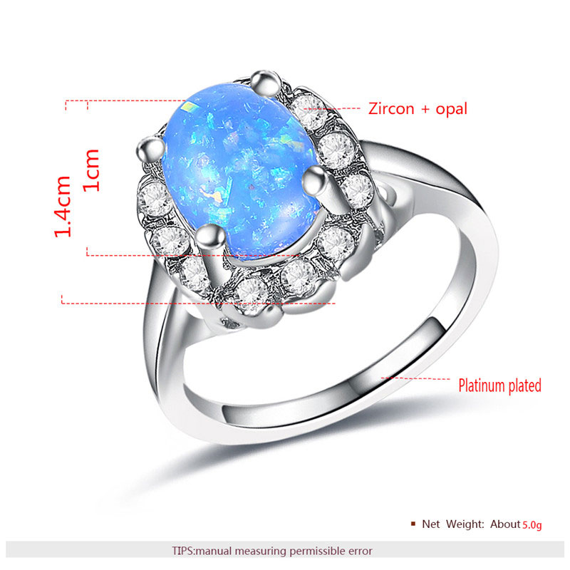 Blue Fossil Opal White Gold Halo Ring