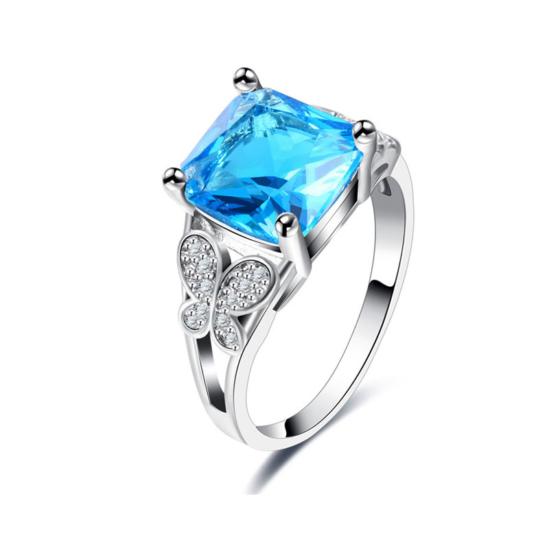 Sapphire and Butterfly Diamond Ring