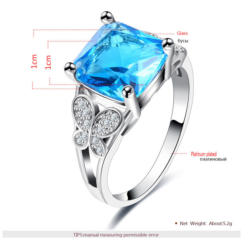 Sapphire and Butterfly Diamond White Gold Ring