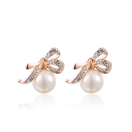 Bowknot Pearl Rose Gold Stud Earrings