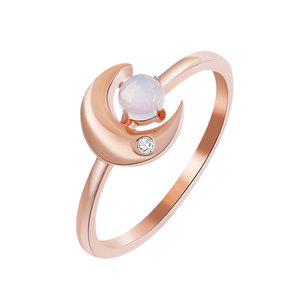 Sun Moon Star Moonstone Rose Gold Ring