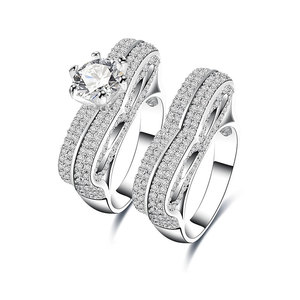 Two Side White Gold Diamond Ring Set