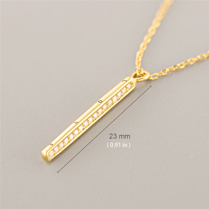 Love Bar 925 Sterling Silver Pendant Necklaces