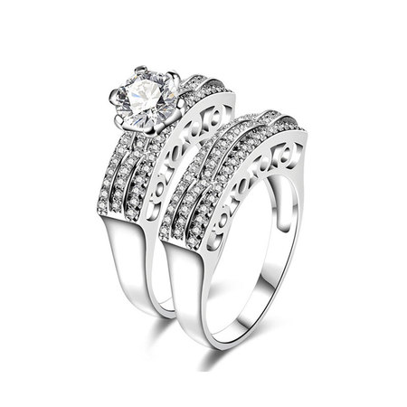 Three Rows Wave Daimond Couple Rings