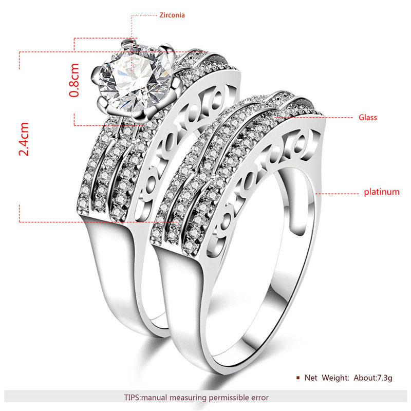 Three Rows Wave Daimond White Gold Couple Rings