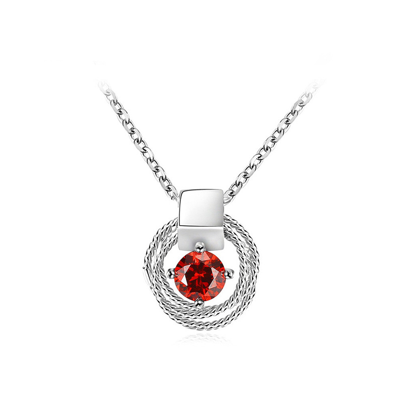Circular Coil Solitaire Ruby Necklace