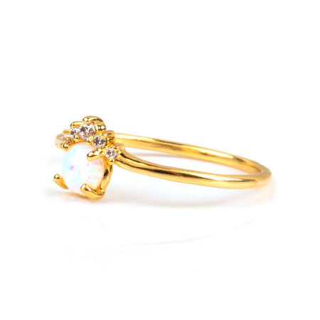 Ins Crown 18K Gold Opal Ring